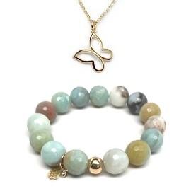 "Green Amazonite 7"" Bracelet & Butterfly Gold Charm Necklace Set"