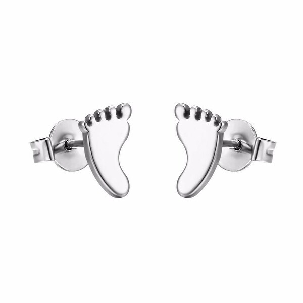 Baby Foot Print Earrings Silver Tone Stainless Steel Studs 9mm Cute
