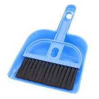 Portable Dashboard Console Vent Air Outlet Cleaning Brush Broom Dustpan Set Blue
