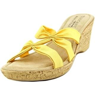 Easy Street Lauria Women Open Toe Synthetic Yellow Wedge Sandal