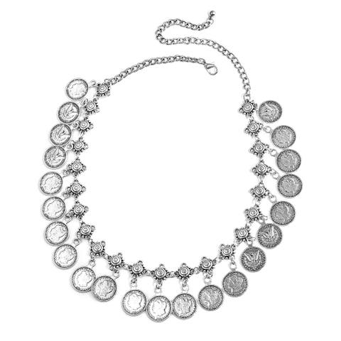 Silvertone America White Glass Coin Charm Pendant Statement Bib - Size 20''