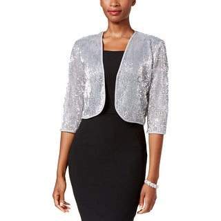 SD Collection Womens Petites Shrug Sequined Contrast Trim