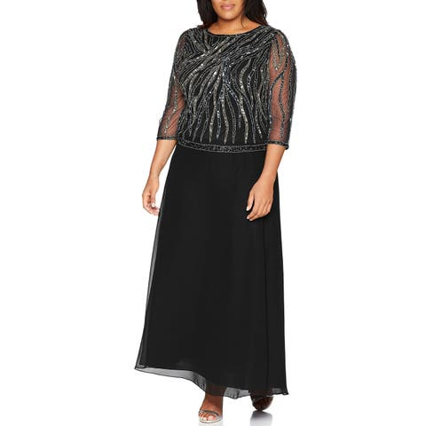 12a105ef775 J Kara Mercury Black Women s Size 18W Plus Round Neck Beaded Gown