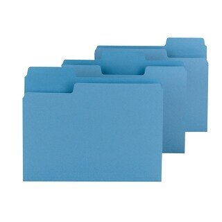 Smead 1/3 Cut Colored Super Tab File Folder, 11 L x 8-1/2 W in, 3/4 in Expansion, Blue, Pack of 100