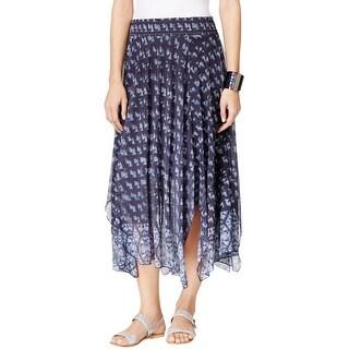 John Paul Richard Womens Maxi Skirt Printed Handkerchief Hem