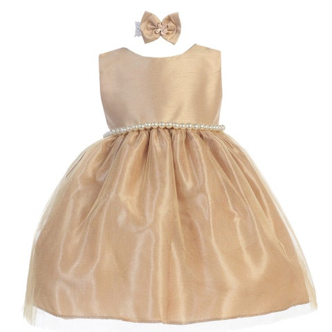 Baby Girls Gold Dupioni Tulle Pearl Adorned Waist Flower Girl Dress 6-24M