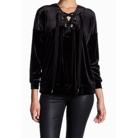 Bobeau Black Womens Size Medium PM Petite Lace Up Pullover Sweater