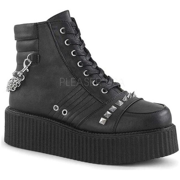 Demonia Men's V Creeper 565 Lace-Up Ankle Boot Black Vegan Leather