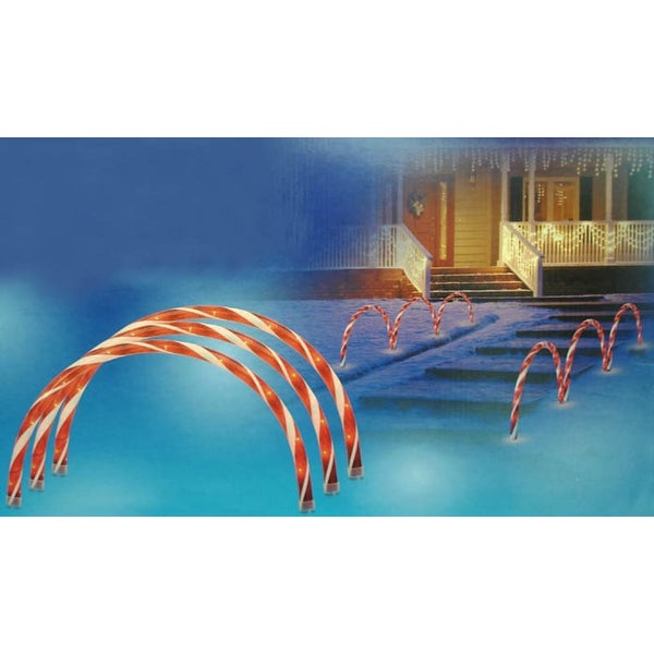 3 Lighted Candy Cane Archways / Pathway Markers Outdoor Christmas Decorations - Red