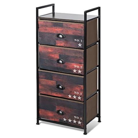 Costway 4 Drawer Fabric Dresser Storage Tower Nightstand Sturdy Steel