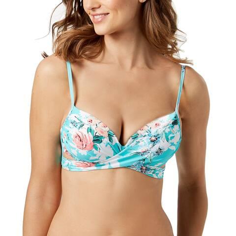 Coco Reef Women's Printed Underwire Wrap Bikini Top, (Larimar Aqua 32/34D) - (Larimar Aqua - 32/34D