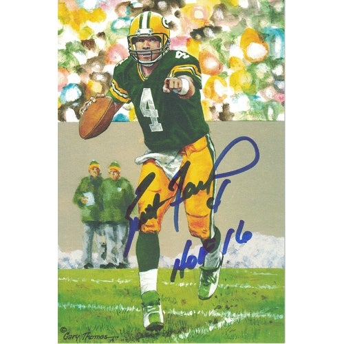 huge discount d37b2 18dd6 Brett Favre Autographed Green Bay Packers Goal Line Art Card Blue HOF