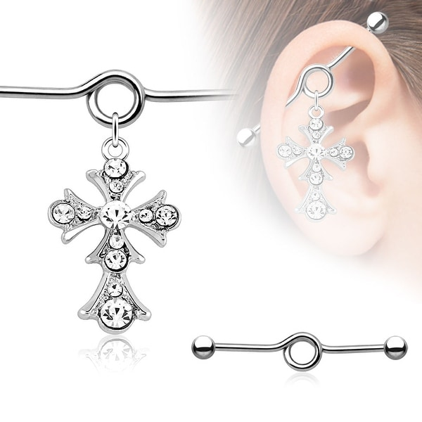 {Clear} Vintage Cross Paved Gem Charm Dangle Industrial Barbell (Sold Individually)