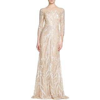 David Meister Womens Evening Dress Mesh Sequined - 4