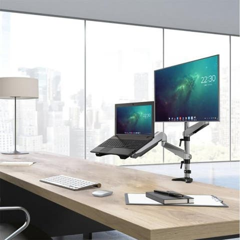 Moda Dual Monitor Stand and Laptop Desk Mount Combo up to 27""