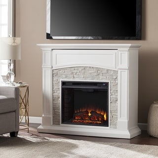 Link to Copper Grove Helliwell White Faux Stone Electric Media Fireplace Similar Items in Fireplaces