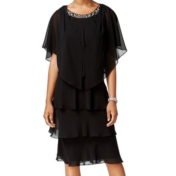 SLNY Pearl Embellished Women's Tiered 2-Piece Dress
