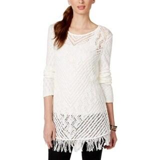Style Co. Sheer Crochet Knit Fringe Hem Long Sleeve Tunic Sweater - L