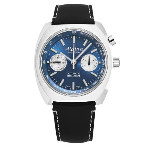 Alpina mens 'startimer pilot' monopusher blue dial black leather automatic watch al727lnn4h6