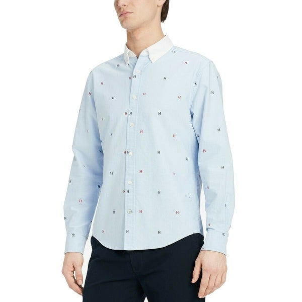 b2812d588aaeda Shop Tommy Hilfiger Blue Mens Size Small S Custom Fit Button Down ...