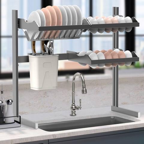2-Tier Carbon Steel Dish Drying Rack Kitchen Organizer Over The Sink Shelf Storage Rack - 27(L)*14(W)*21(H)