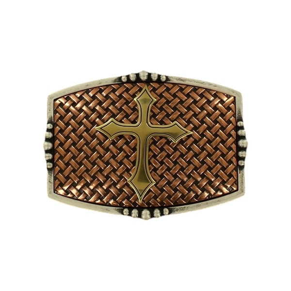 Nocona Western Belt Buckle Rectangle Basketweave Copper Silver - 3 3/4 x 2 3/4