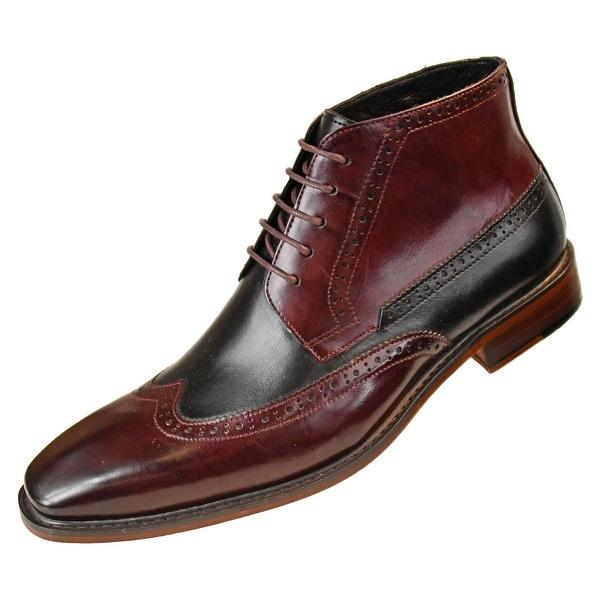 53182fea21ff0 Asher Green Mens Two Tone Genuine Calf Leather Wingtip Spectator - Burgundy