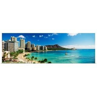 """""""Hotels on the beach, Waikiki Beach, Oahu, Honolulu, Hawaii"""" Poster Print"""