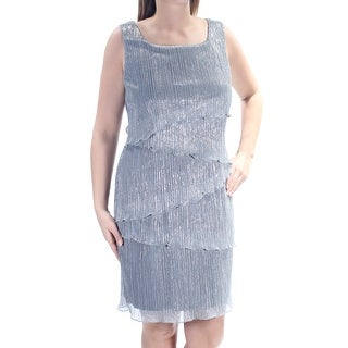 Womens Silver Sleeveless Knee Length Dress Size: 12