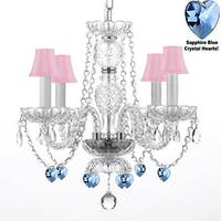 Chandelier Lighting With Pink Shades And Crystal Blue Hearts