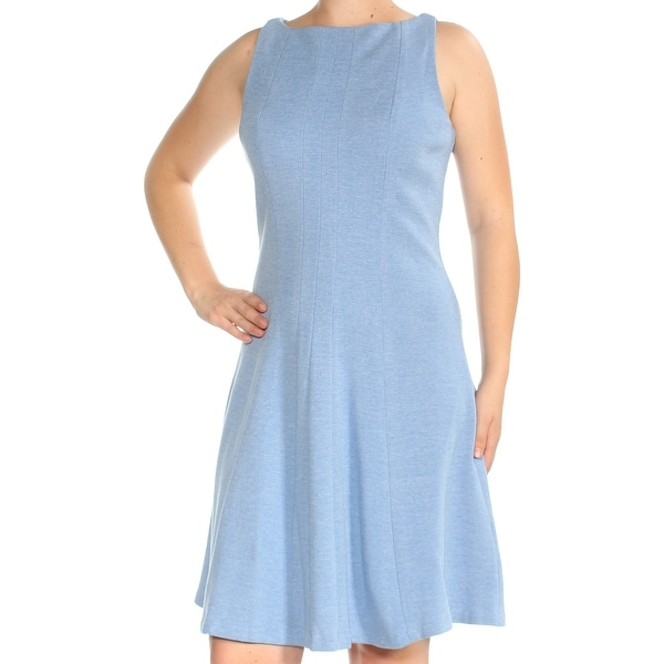 0c96411fc2f Shop TOMMY HILFIGER Womens Blue Sleeveless Boat Neck Knee Length Fit + Flare  Dress Size: 8 - On Sale - Free Shipping On Orders Over $45 - Overstock - ...