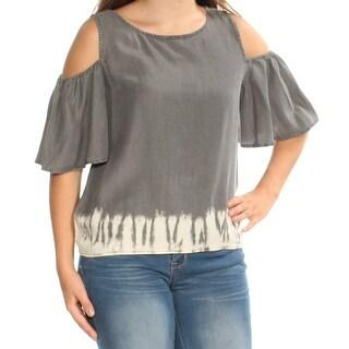 Womens Gray Short Sleeve Jewel Neck Top Size S
