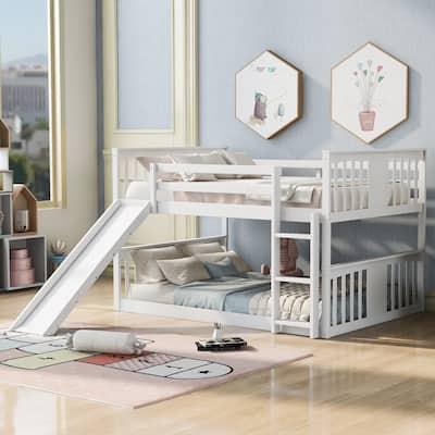 Nestfair Full Over Full Bunk Bed with Ladder with Slide