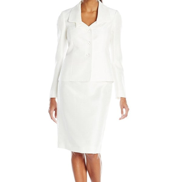 Le Suit NEW White Vanilla Ice Women's Size 18 Shantung Skirt Suit Set