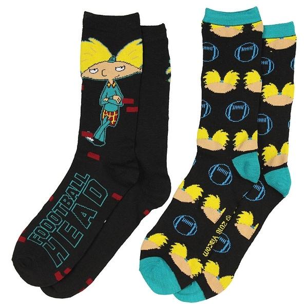 Nickelodeon Hey Arnold! Football Head Men's 2 Pack Casual Crew Socks