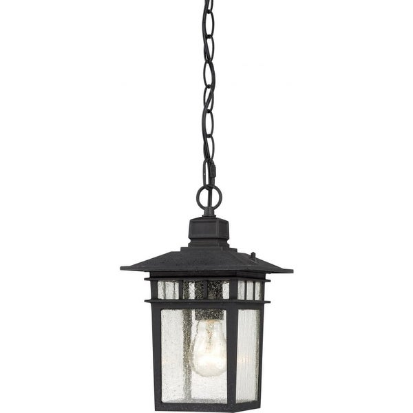 """Nuvo Lighting 60/4956 Cove Neck 1-Light 7"""" Wide Outdoor Mini Pendant with Seedy Glass Shade - Textured Black - N/A"""