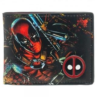 Marvel Comics Deadpool Bi-Fold Print Wallet w/ Embossed Metal Badge