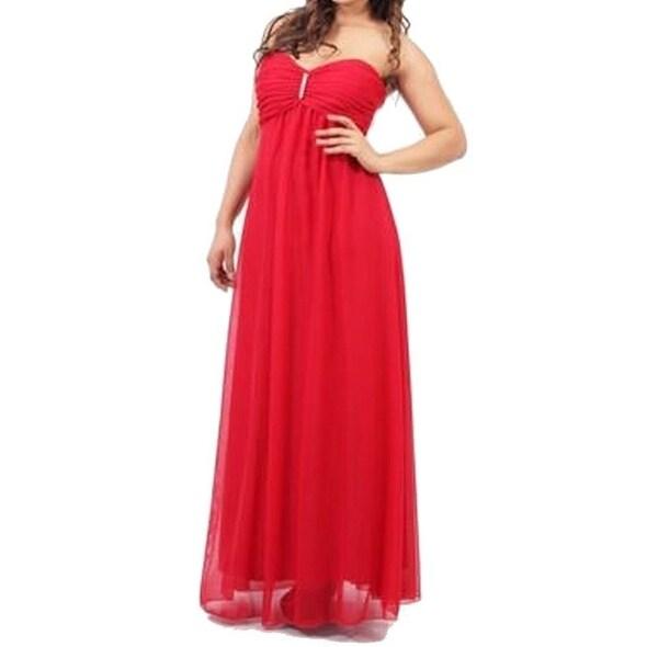 Shop Onyx Nite NEW Red Fire Women\'s Size 16 Strapless Chiffon Ball ...