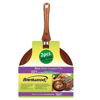 "Brentwood Bfp-2810C 2Pcs Induction Copper Non-Stick Frying Pan Set 8""& 10"""