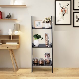 Costway 3 Tier Leaning Rack Wall Ladder Book Shelf Bookcase Storage Display Multipurpose