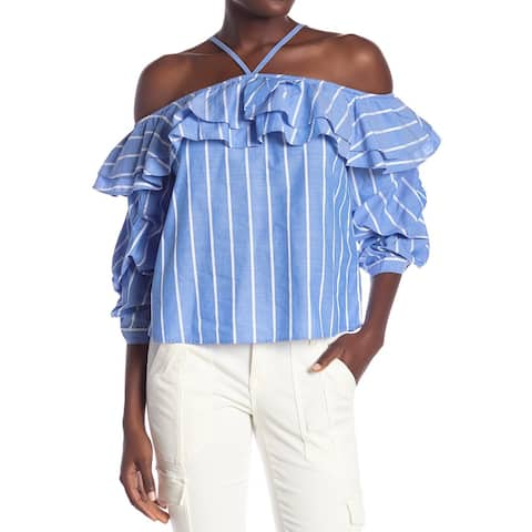 Joie Blue Women's Size Medium M Ruffled Cold-Shoulder Blouse