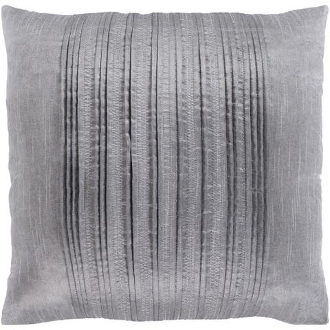 Josune Metallic Silver Feather Down or Poly Filled Throw Pillow 20-inch