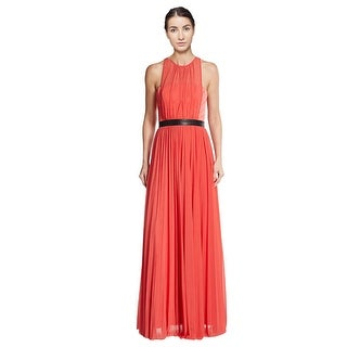 A.B.S. Faux Leather Banded Chiffon Evening Gown Dress - 4