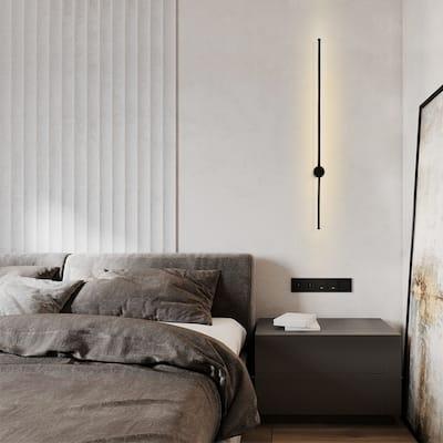 Minimalist Style Modern Long Strip LED Wall Sconce in Black 3000K LED - 2.3