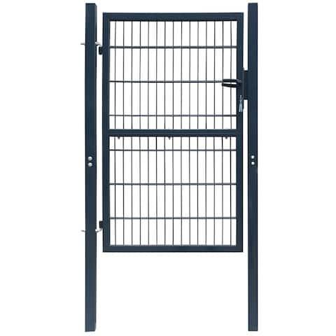 "vidaXL 2D Fence Gate (Single) Anthracite Gray 41.7"" x 82.7"""