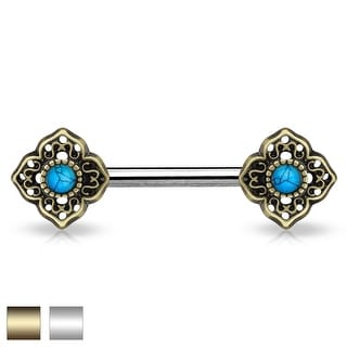 Turquoise Center Tribal Flower Ends Surgical Steel Nipple Barbell - 14GA (Sold Ind.)