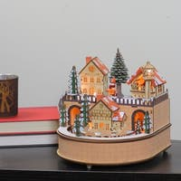"Musical 8.75"" Christmas LED Wooden Laser Cut Village Table Top Decoration"