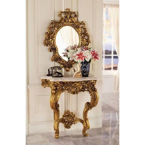 Design Toscano Madame Antoinette Wall Console Table and Salon Mirror - Table: 32 x 17 x 35 Mirror: 28 x 37