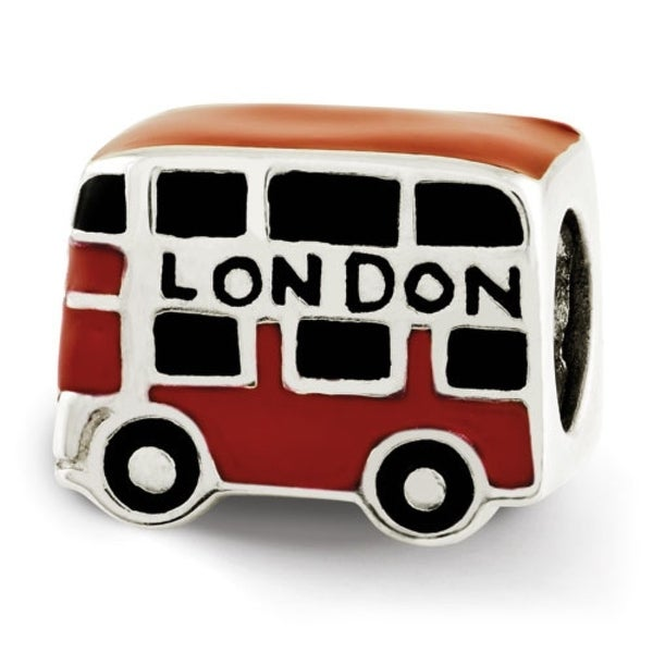 Sterling Silver Reflections Enamel London Double Decker Bus Bead (4mm Diameter Hole)