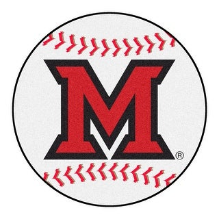 NCAA Miami University OH Redhawks Baseball Shaped Mat Round Area Rug N A